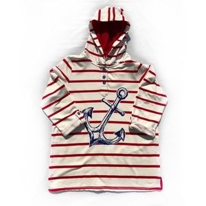 Susan Graver Nautical Button Front Pullover Hoodie
